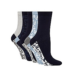 The Collection - Pack of five blue animal print high ankle socks