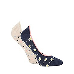 The Collection - Pack of two assorted cotton daisy print footsie socks