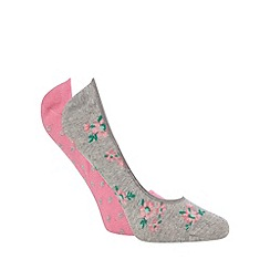 The Collection - Pack of two grey cotton spot print footsie socks