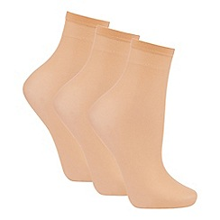 The Collection - Pack of three nude 10D ankle highs