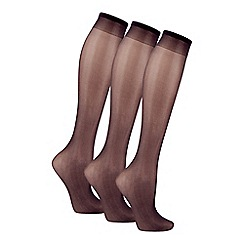 The Collection - Pack of three black 10D knee highs