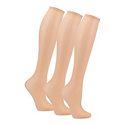 The Collection - Pack of 3 natural knee high socks