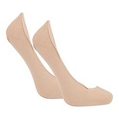 The Collection - Pack of 2 beige footsie socks
