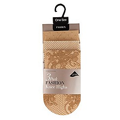 Debenhams - Pack of three natural fashion knee highs
