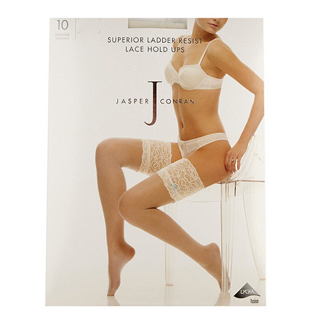 J by Jasper Conran - Designer ivory superior ladder resist lace hold ups