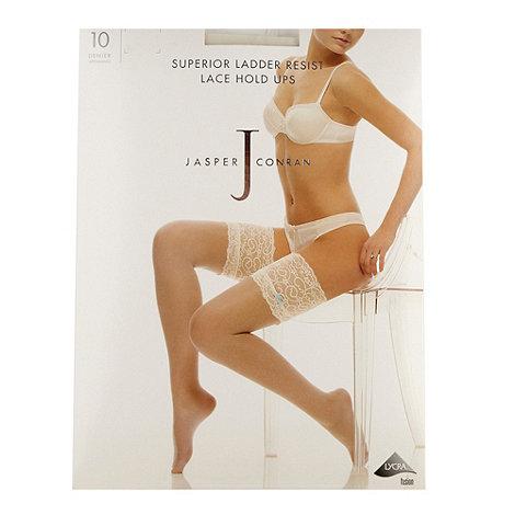 J by Jasper Conran - Designer ivory superior ladder resist lace hold ups
