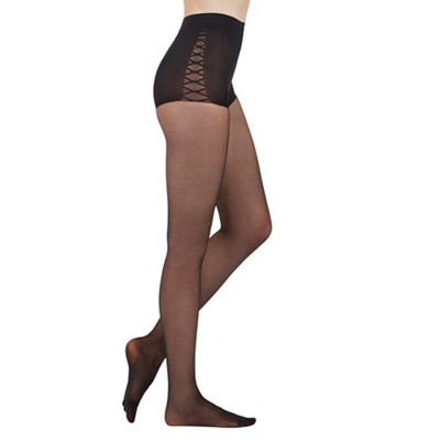 Aristoc Black 15D tummy tuck toner tights - M/L. -
