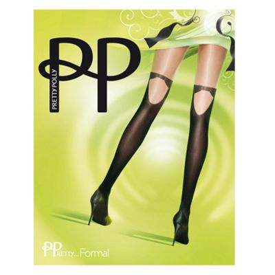 Black mock-suspender patterned fashion tights