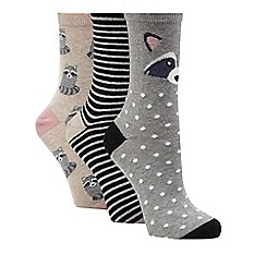 The Collection - Grey set of three raccoon ankle socks