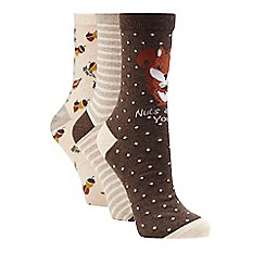 The Collection - Brown set of three squirrel ankle socks