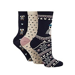 The Collection - Navy and cream owl patterned socks