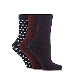The Collection - Pack of three navy and dark red spotted socks