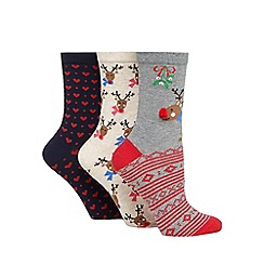 The Collection - Pack of three assorted reindeer patterned socks