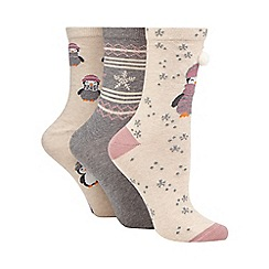 The Collection - Pack of three beige penguin print ankle socks