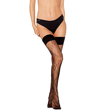 J by Jasper Conran - Black sheer all over lace hold ups
