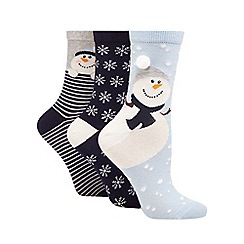 The Collection - Pack of three blue snowman print ankle socks