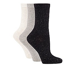 The Collection - Pack of three assorted glittery ankle high socks