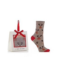 The Collection - Grey reindeer patterned socks in a gift box
