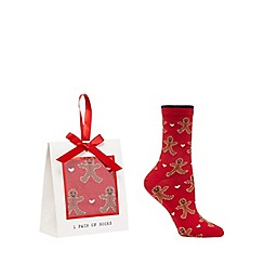 The Collection - Red gingerbread socks in a gift box