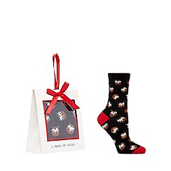 The Collection - Black Christmas pudding socks in a gift box
