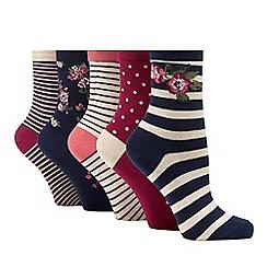 Lounge & Sleep - Navy blue set of five ankle socks