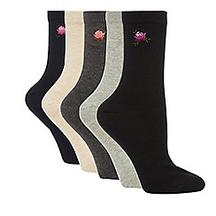 Lounge & Sleep - Pack of 5 multi-coloured cotton rich ankle socks