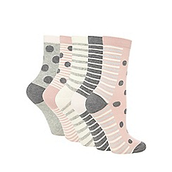 The Collection - Pack of five grey spot print socks