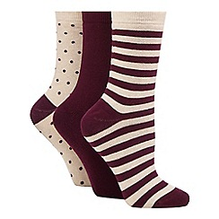 The Collection - Pack of three maroon chunky spot and striped print thermal socks