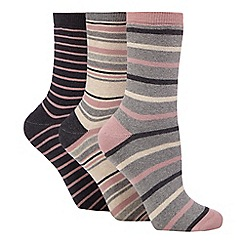 The Collection - Pack of three grey striped print thermal socks
