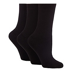 The Collection - Pack of 3 black chunky thermal ankle socks