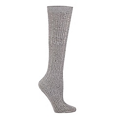The Collection - Grey cable knit knee high socks