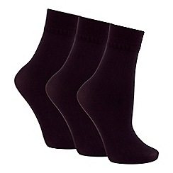 The Collection - Pack of 3 black opaque ankle highs