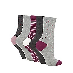 Lounge & Sleep - Pack of 5 multi-coloured patterned ankle socks