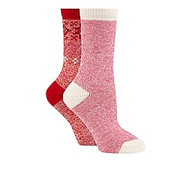 Converse - Pack of two red and pink plain and patterned thermal socks