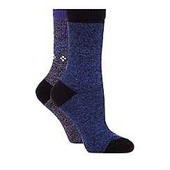 Converse - Pack of two purple and blue plain and patterned thermal socks