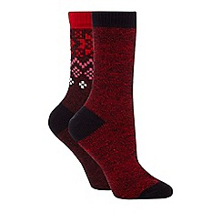 Converse - Pack of two red and dark red plain and patterned thermal socks