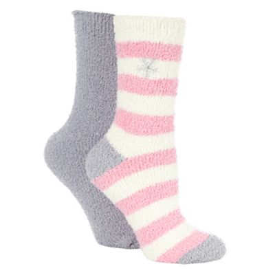 2 pack grey fleece slipper socks