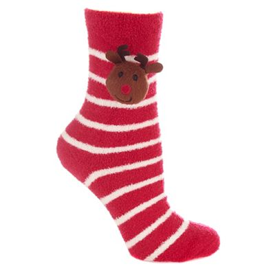 Red striped fleece reindeer socks