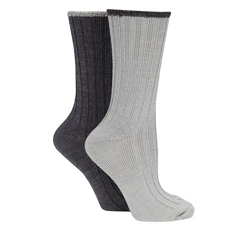 Debenhams - Pack of two grey and dark grey thermal socks