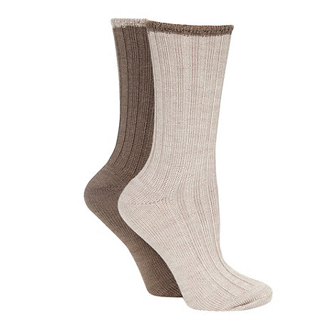 Debenhams - Pack of two beige ribbed thermal socks