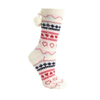 Cream fairisle heat knit slipper socks
