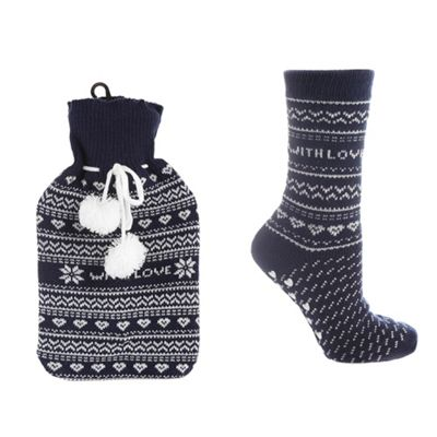 Navy fairisle knitted hot water bottle and socks set