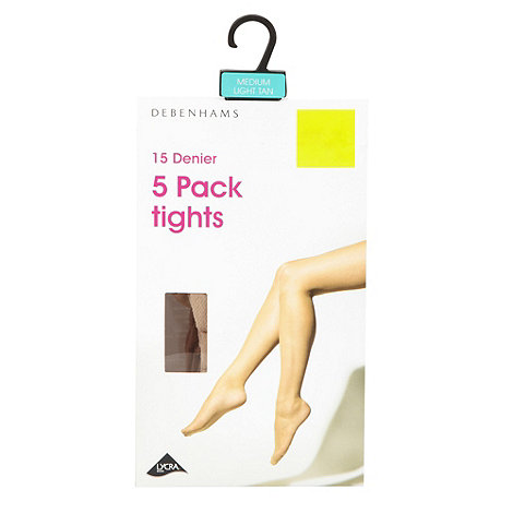 Debenhams - Pack of five light tan 15D sheer tights