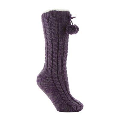 Designer purple cable knit slipper socks