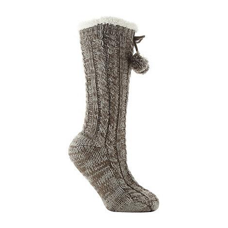 RJR.John Rocha - Designer grey fleece pom pom slipper socks