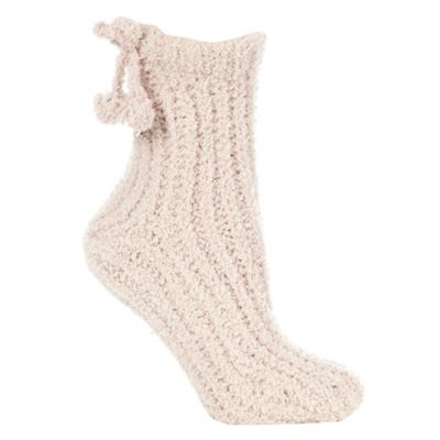 Pale pink chenille ankle socks