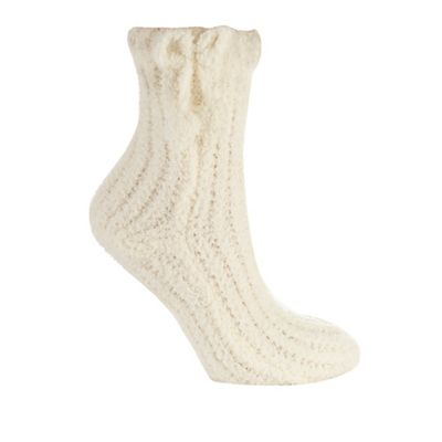 Cream chenille ankle socks
