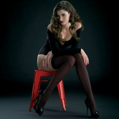 Black Carla diamond striped tights