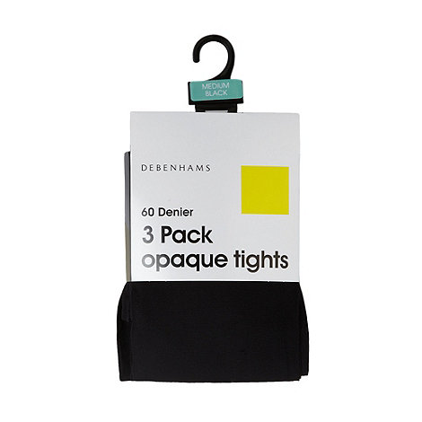 Debenhams - Pack of three black 60D opaque tights