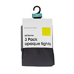 Debenhams - Pack of three grey 60D opaque tights
